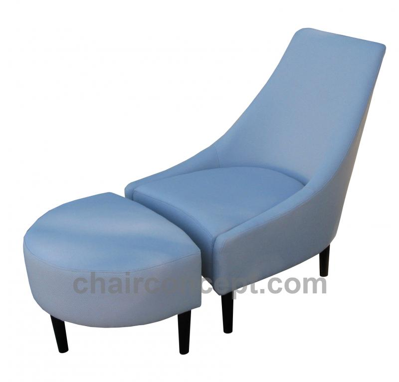 Baby blue armchair with foot stool