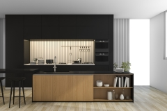 3d rendering black modern kitchen with light from window