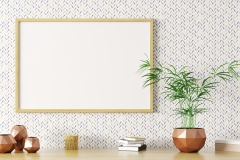 Blank mock up wooden frame 3d rendering