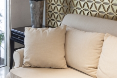 Interior Living room sofa modern style with pillows and flower