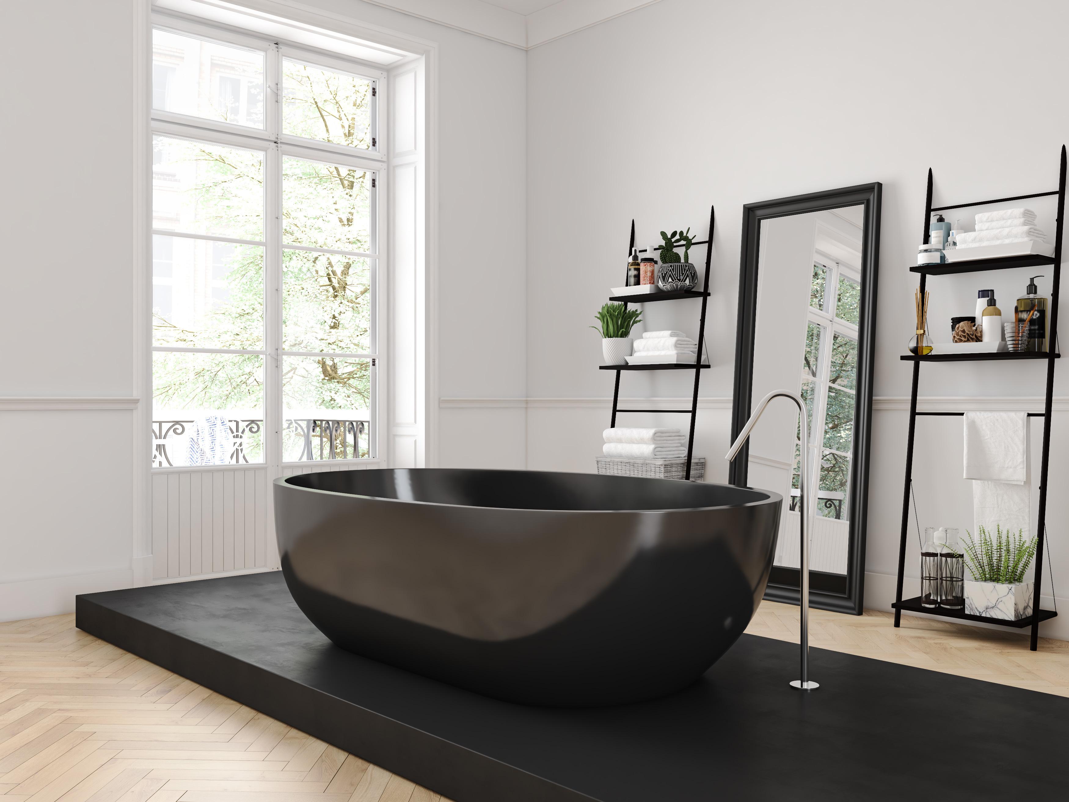 classic luxury bathroom. 3d rendering
