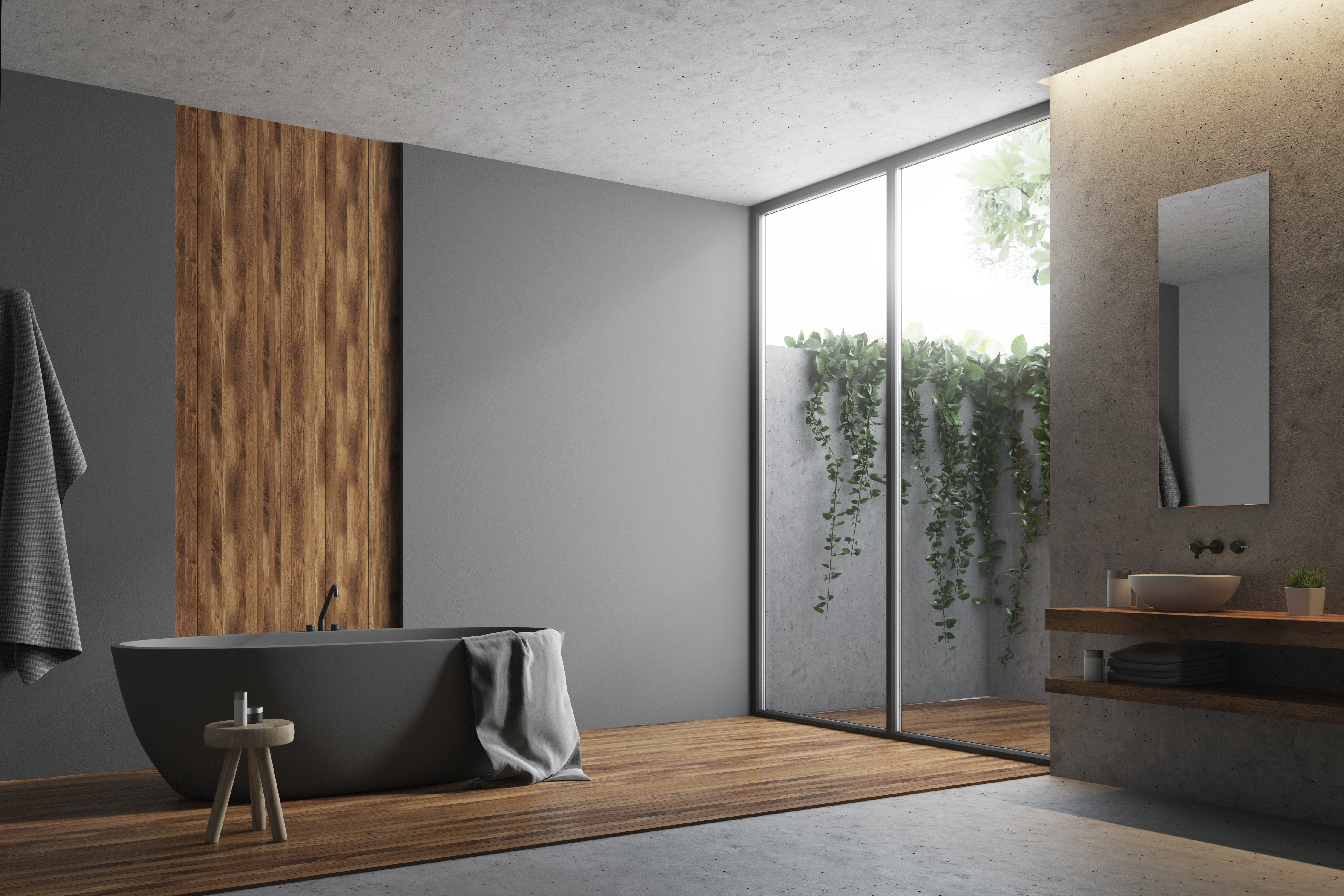 Gray and wooden bathroom corner