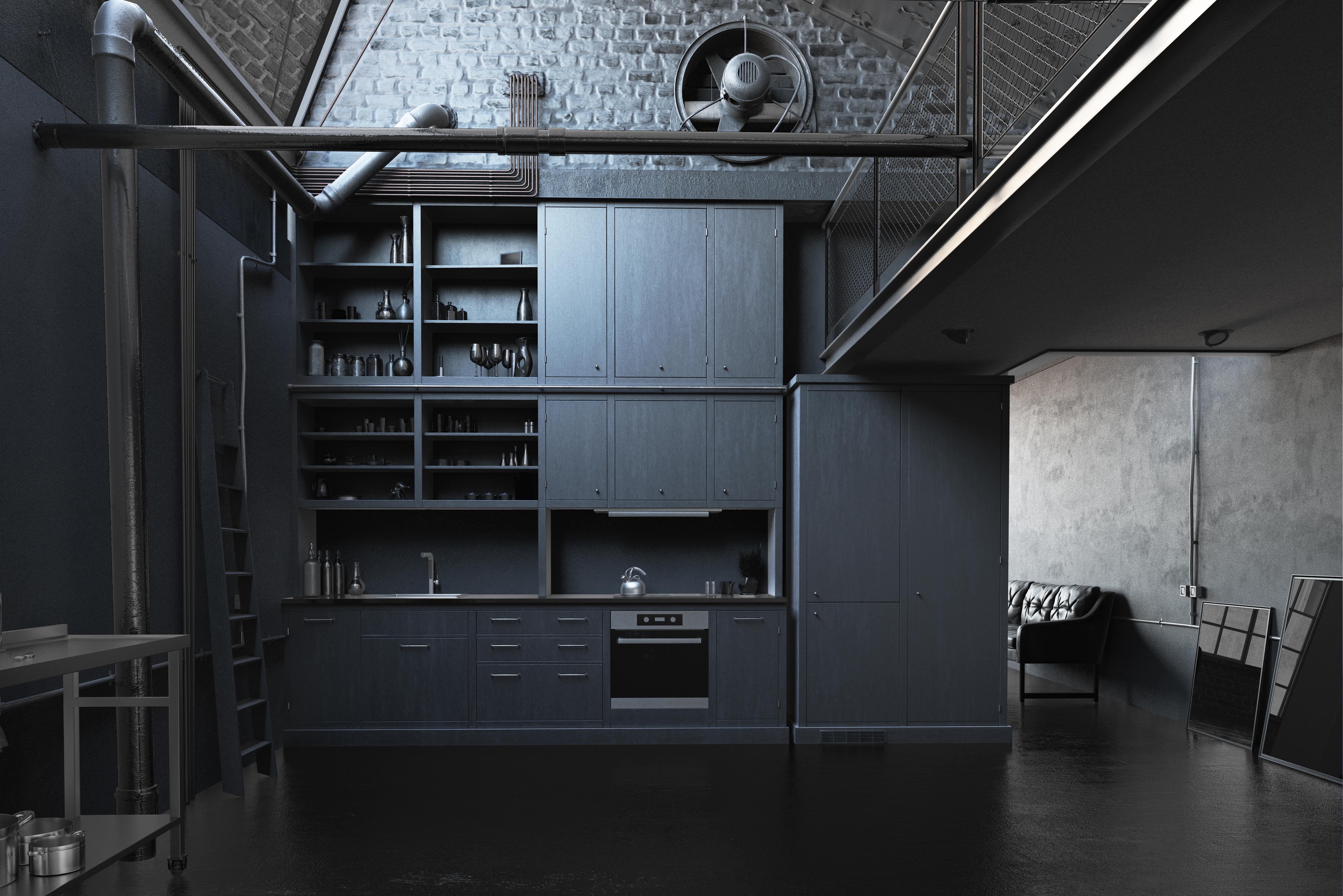 The modern loft kitchen