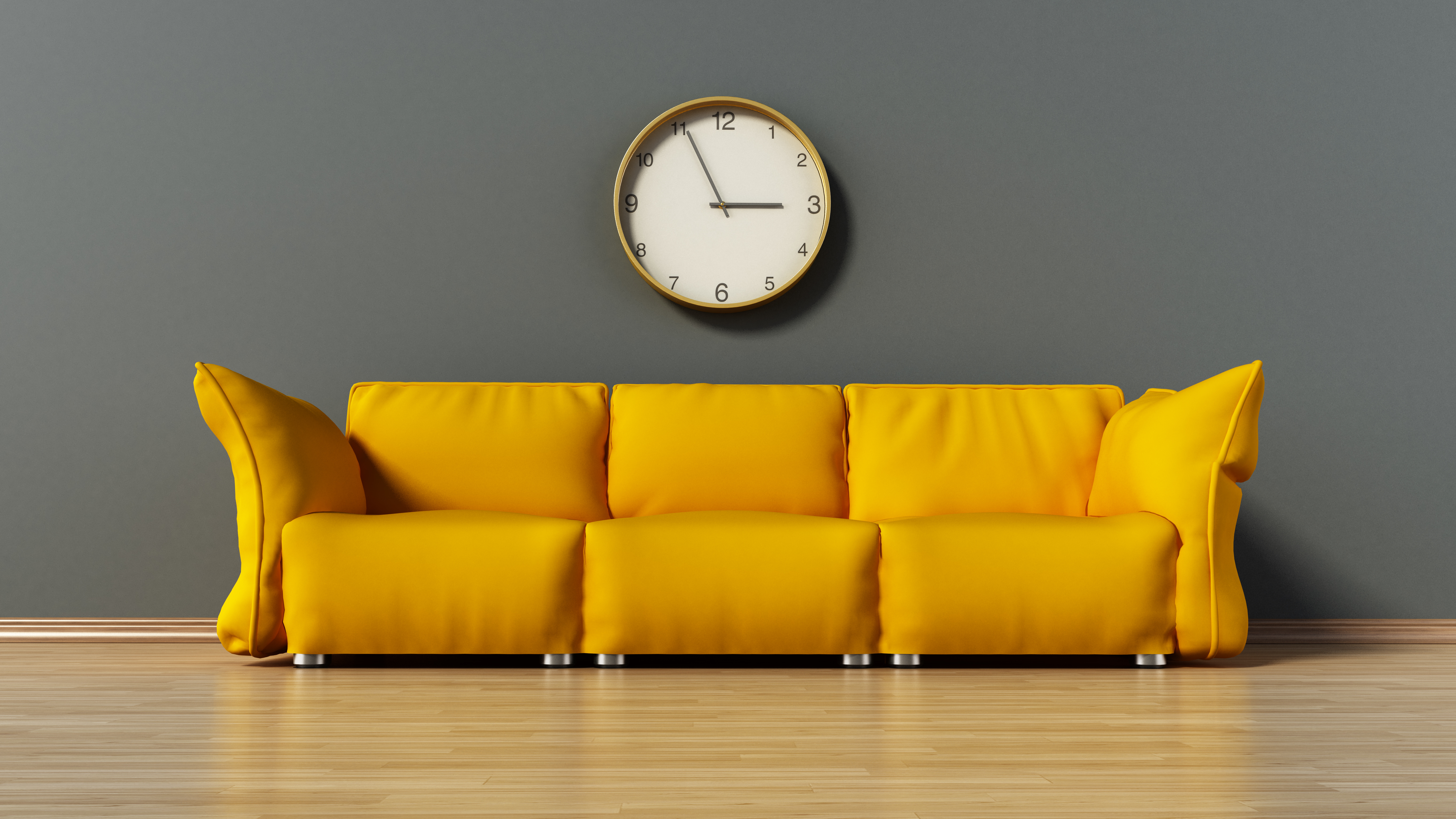 Green couch standing on parquet ground. 3D illustration