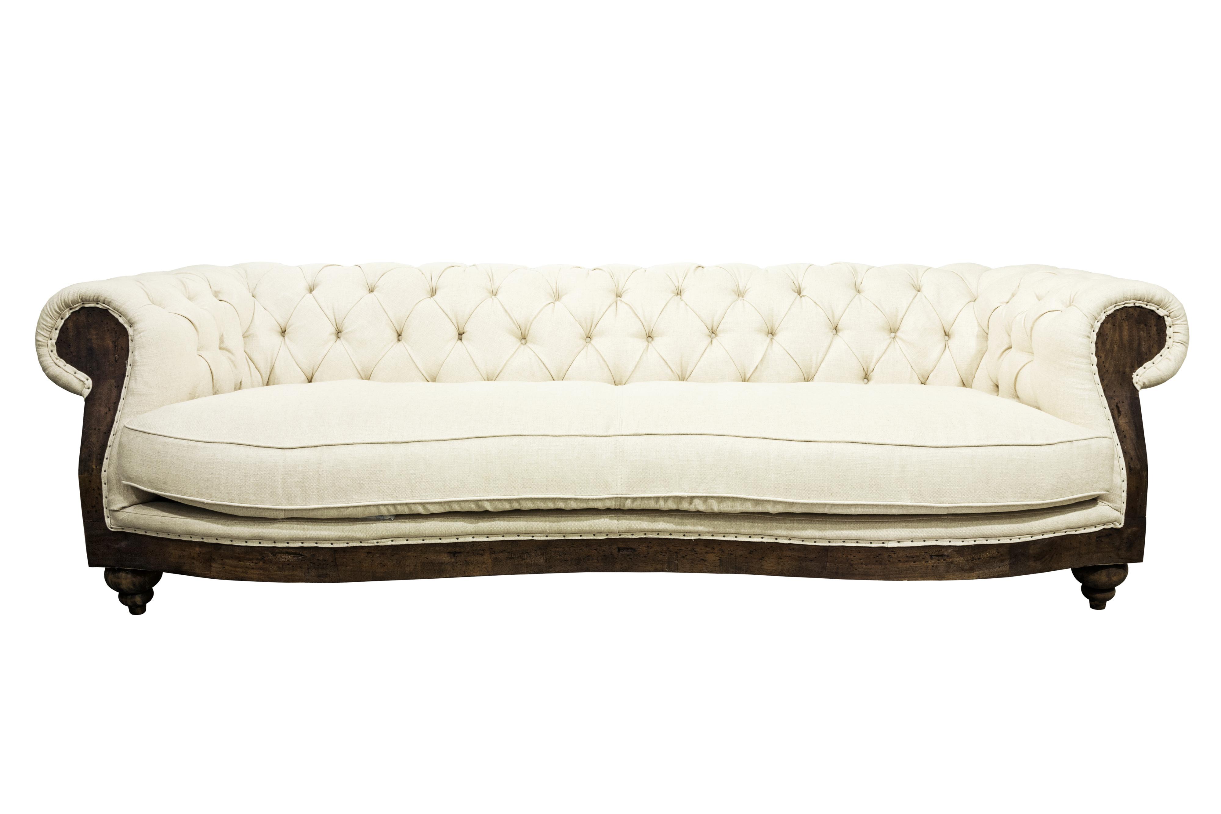 White luxurious sofa isolated on white background.